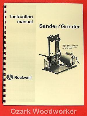 Rockwell 1 Belt Sandergrinder Operator Part Manual 0585