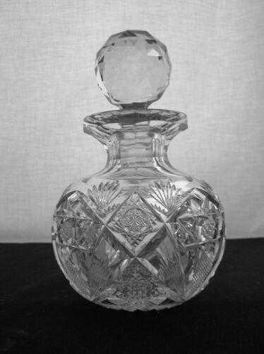 AMERICAN BRILLIANT CUT GLASS SIGNED HAWKES HOLLAND GLOBE COLOGNE