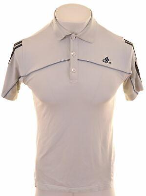 ADIDAS Mens Polo Shirt Small Grey Cotton  KF07