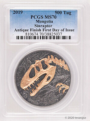 2019 500 Togrog Mongolia Sinraptor 1 oz .999 Antiqued Silver Coin PCGS MS70-FDI
