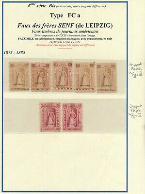U.S.A. 1875 - 1885, 7 DIFF. SENF BROTHERS FORGERIES NEWSPAPERS REVENUES. #M51