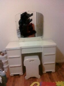 Antique Vanity with mirror and seat