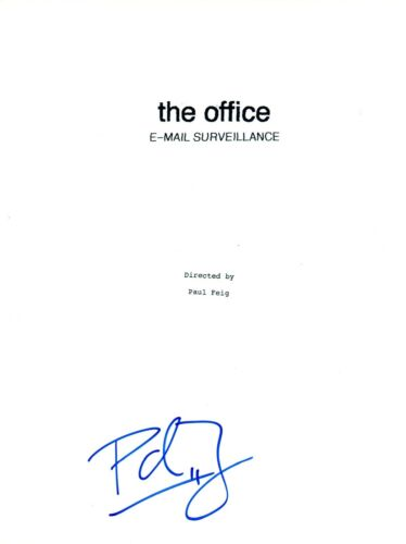 Paul Feig Signed Autographed THE OFFICE Email Surveillance Script Director COA