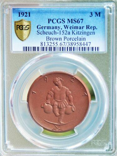 RARE Germany 3 M 1921 PCGS MS67 SCH-152a Kitzingen Bn Porcelain Men 13197.9 Coin