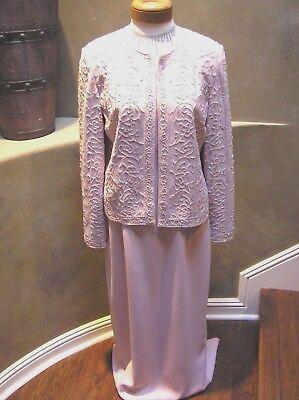 NWOT Nite Lite MOB Beaded evening social occasion dress suit w/jacket Pink 10  (Nite Lite Jacket)