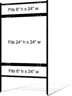 Real Estate Yard Sign Metal Frame 24 X 24 Slide-in 2 Rider Black Pack Of 3