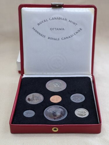1967 Canada Confederation Proof Set In Red Leatherette  Presentation Case