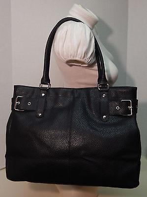 - Lancome Black Pebbled PVC Side Belt Buckle Shoulder Bag Handbag Tote Purse
