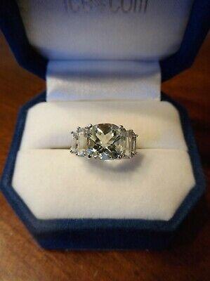 14k White Gold Green Amethyst Cubic Zirconia Ring (847)
