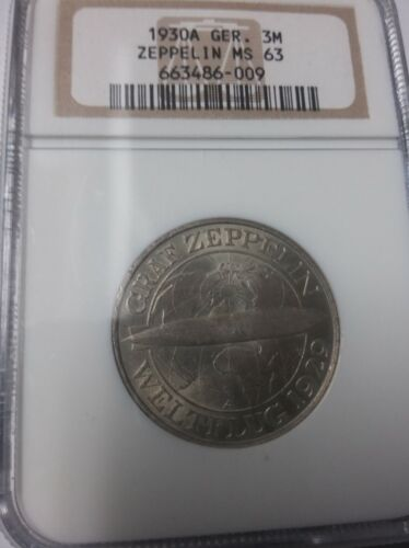 Rare 1930 A  Germany Silver 3 marks-Zeppelin-NGC MS 63