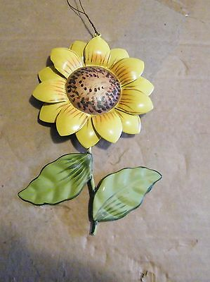 """7x4.5"""" Metal SUNFLOWER 2 layer petals craft ornament country tin  floral decor"""