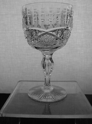 AMERICAN BRILLIANT CUT GLASS WATER GOBLET IN ELLSMERE SIGNED LIBBEY RARE