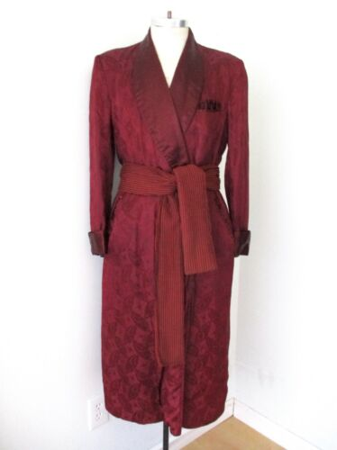 Vtg 40s burgundy satin butterfly brocade smoking jacket long robe stripe sash M