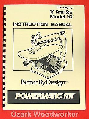 Powermatic 93 15 Scroll Saw Operator Part Manual 0540