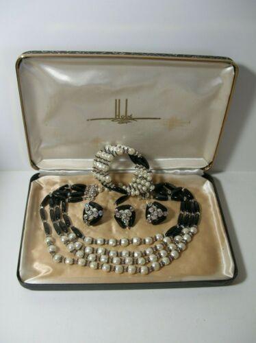 Vintage HOBE Black Glass Iridescent Bead Crystal Necklace Bracelet Earrings Set