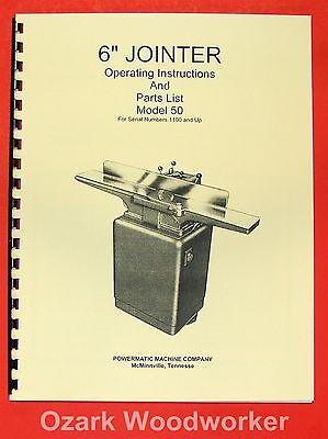 Powermatic 50 6-inch Jointer Operating Parts Manual 0530