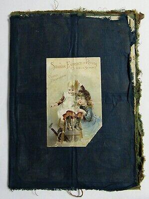 Antique 1800's VICTORIAN SCRAPBOOK Handmade Cloth Album FOLK ART Trade Card Ads