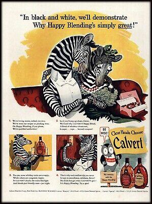 VINTAGE 1942 ADVERTISEMENT - Very Cute ZEBRA ILLUSTRATIONS - For CALVERT WHISKY