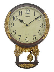 Gold & Brown Round Crystal Accented Wall Clock w/ Swinging Pendulum