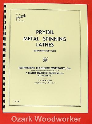 Pryibil Straight Bed Metal Spinning Lathes Tools Brochure Manual 0947
