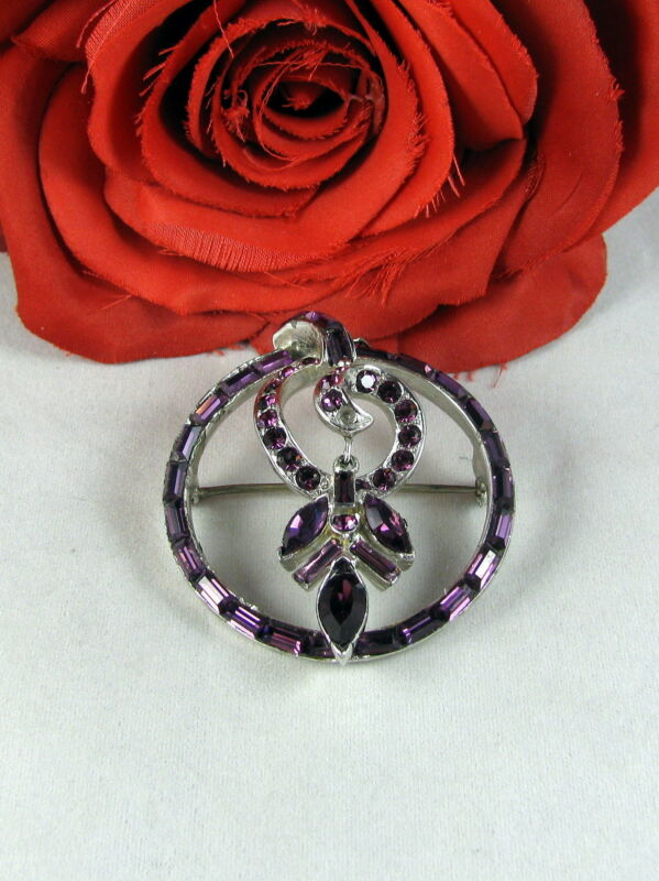 Vintage Coro Craft Dazzling Purple Rhinestone Pin Brooch  CAT RESCUE