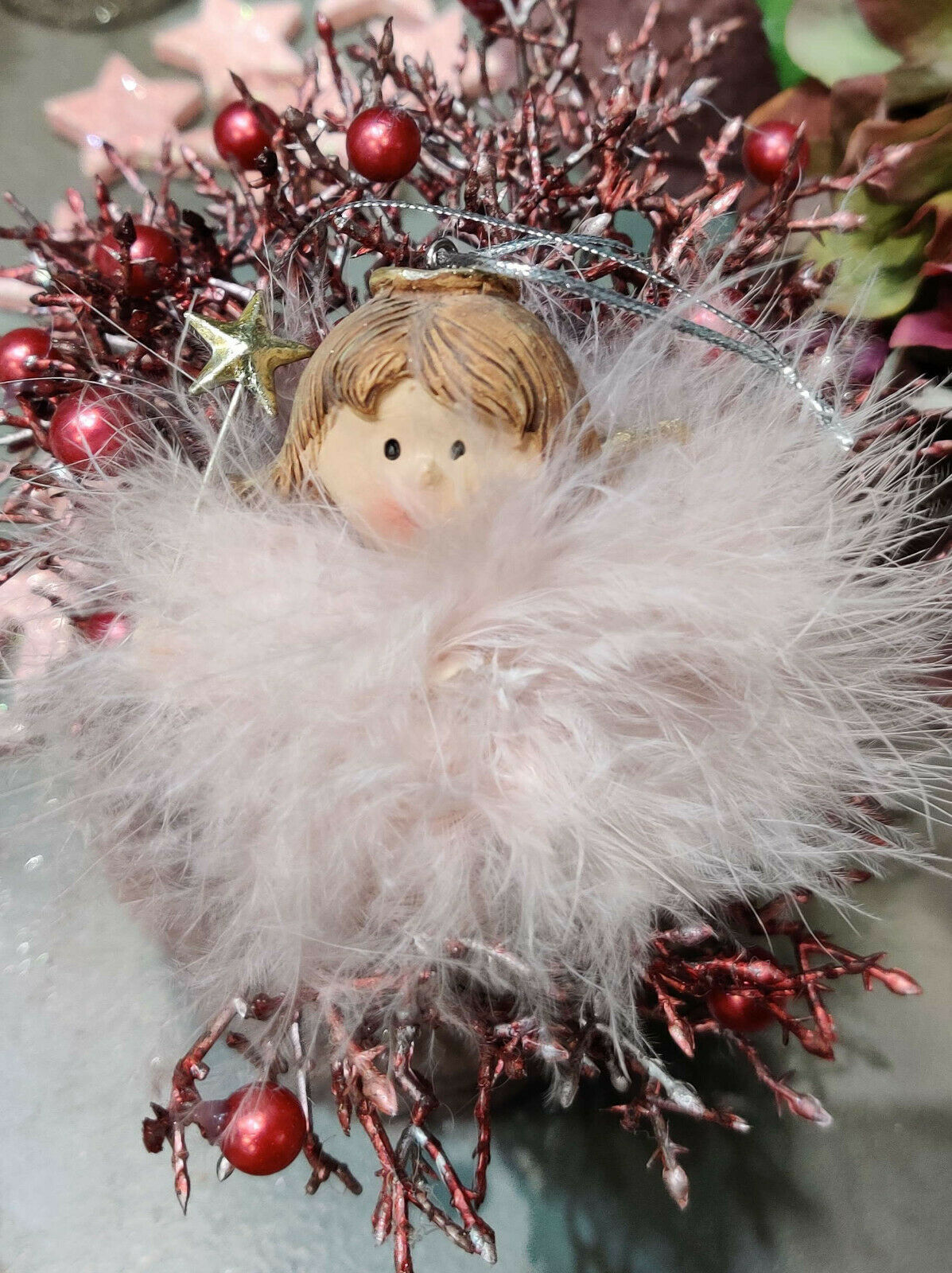 Weihnachtskugel Hänger Fell Rosa ENGEL Nostalgie Christbaumkugel Stern Vintage
