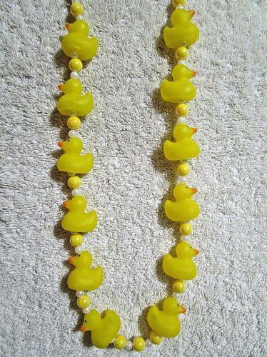"""BABY YELLOW RUBBER DUCKS"" MARDI GRAS NECKLACE HAND BEAD MINI DUCKIES (B139)"