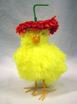 "Adorable Yellow Yarn Feathered CHICK w Red Flower Hat Easter Spring 5"" tall"