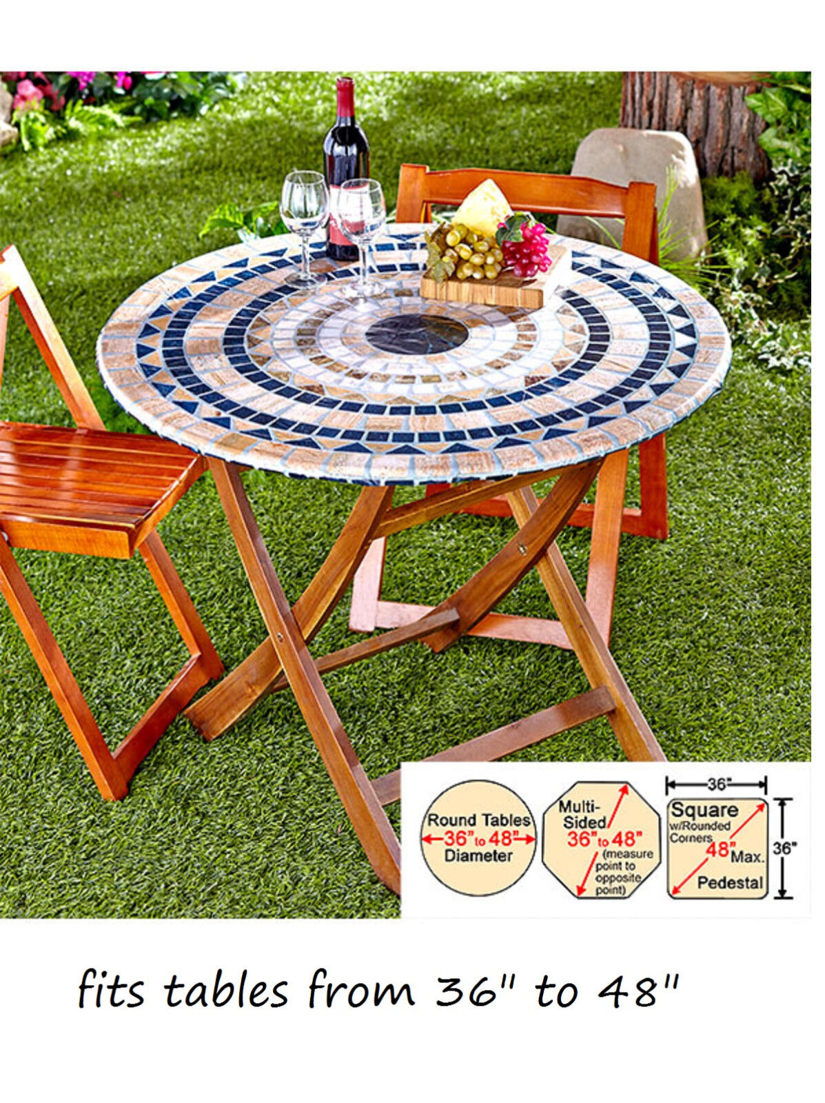 Round Plastic Table Covers With Elastic 48 Round Patio Table Covers