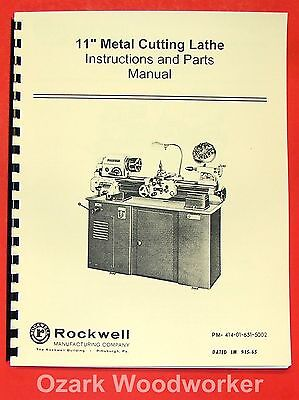 Rockwell 11 Cabinet Metal Lathe Operatingparts Manual 0590