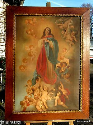Antique Oil Painting Madonna with Engelschar Signed Excellent Künstlerarbeit