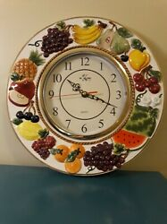 Vintage KMC 12 Quartz Fruit Apples,Banana, Grapes, Strawberry Wall Clock Decor