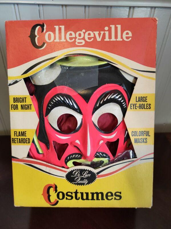 VINTAGE DEVIL Collegeville  Halloween Costume w Mask and Jumper #859