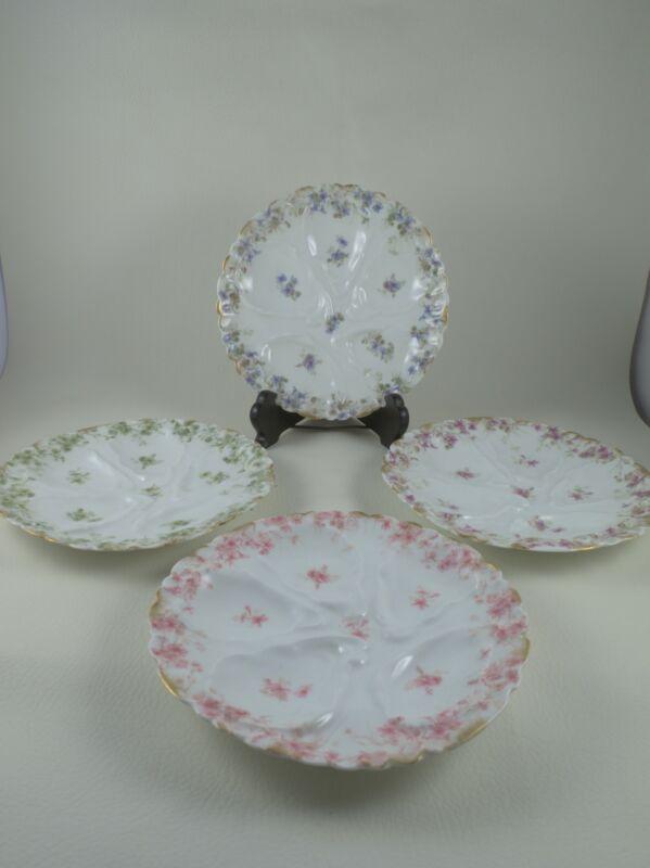 CHARLES FIELD HAVILAND CFH Limoges Porcelain Set of 4 Oyster Plates 4 Colors