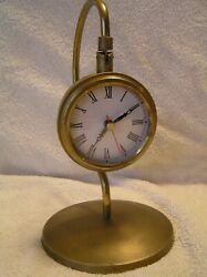 3pt8 BRASS BOND STREET LONDON NAUTICAL HANGING QUARTZ DESK CLOCK ST135