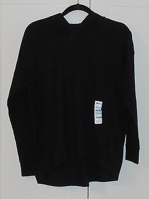 WOMEN'S OLD NAVY BLACK DROPPED SHOULDER COCOON WAFFLE HOODIE - SIZE MEDIUM