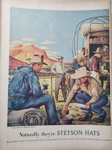 Vintage 1948 Stetson Hats Print Ads Ephemera Art Decor Chuck Wagon