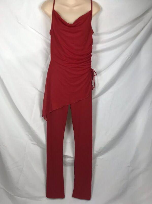 Vth 70s Disco Jumpsuit Playsuit Wider Leg Womens Medium Fits Small Red Lipstick