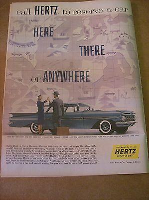 Original 1959 Hertz Car Rental Magazine Ad With Chevrolet