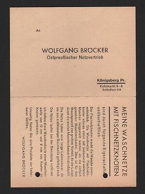 KÖNIGSBERG, Postkarte 1935, Wolfgang Bröcker Ostpreußischer Netzvertrieb