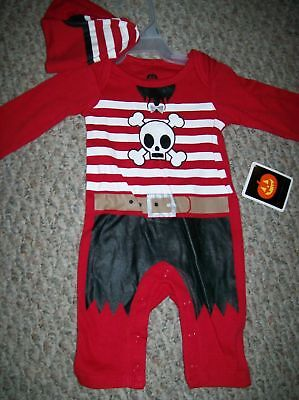 HALLOWEEN - 0-3m NWT red one piece PIRATE outfit & hat costume romper, sleeper