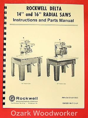 Rockwell 14 16 Radial Arm Saw Parts Manual 0594