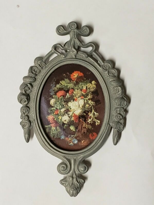 Antique Vintage Ornate Oval Metal Frame Flowers Made in ITALY