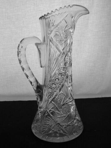 AMERICAN BRILLIANT CUT GLASS HUGE TALL PINWHEEL DESIGN PITCHER TANKARD MAYBE