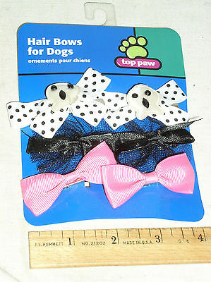 6 NEW TOP PAW TOPPAW PET DOG HALLOWEEN ACCESSORIES HAIR BOW SET WITH SKULLS BOWS - Top Dog Halloween