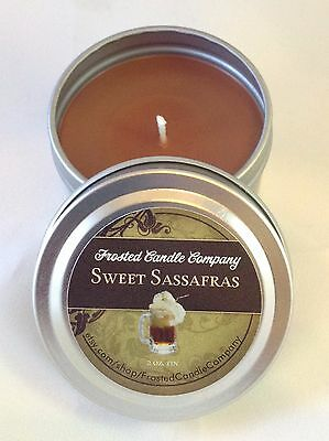 Sweet Sassafras 2oz Travel Tin Root Beer Scent Soda Frosted Candle Company Sweet 2 Ounce Travel Tin