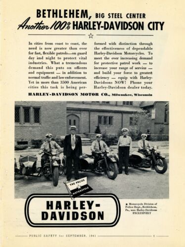 1941 Harley Davidson Police Motorcycles Ad: Bethlehem, Pennsylvania Officers Pic