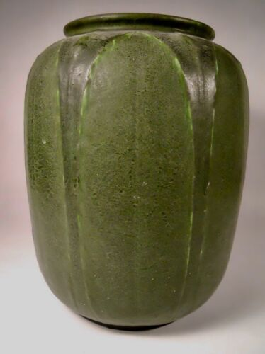 Grueby Pottery Vase with Leaves and Buds, Wilhelmina Post Artist, 1898-1909