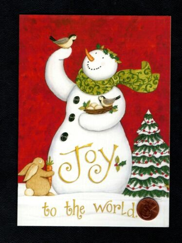 CHRISTMAS Snowman Rabbit Chickadee Birds Tree Scarf - Greeting Card W/ TRACKING