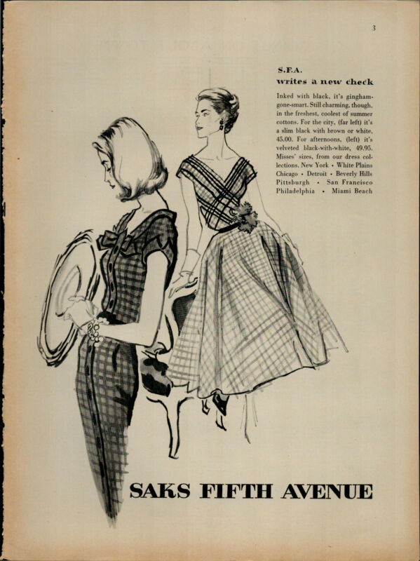 1956 Saks Fifth Avenue S.F.A Gingham Summer Dresses Vintage Print Ad 2417